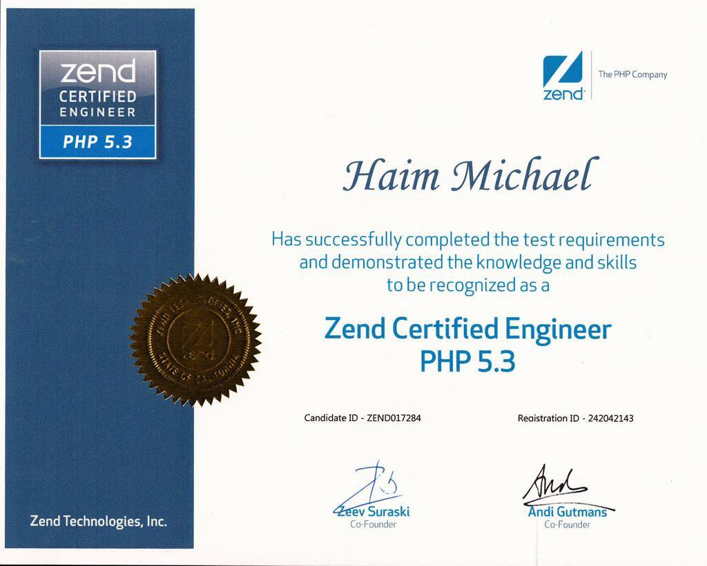 My Php Zend Certified Engineer Certification Info